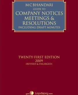 Guide to Company Notices Meetings & Resolutions Including Draft Minutes