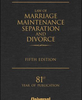Law of Marriage, Maintenance, Separation and Divorce