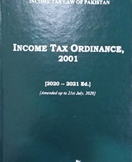 Income Tax Ordinance, 2001 (Amended up to 21st July, 2020)
