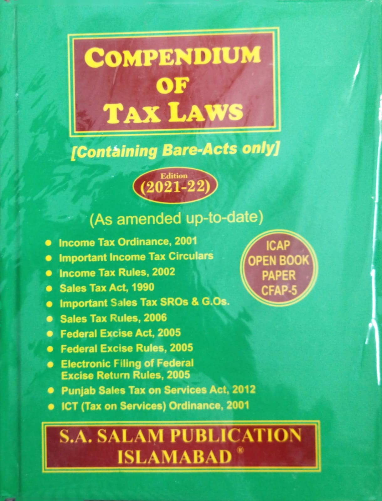 Compendium of Tax Laws (Containing Bare Acts Only) 2021-2022 Edition